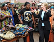 Former Secretary of State Hillary Clinton with patients in Goma, Congo.